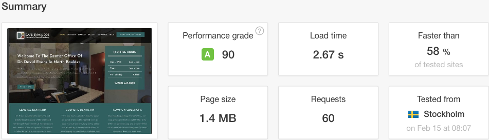 Page Speed Pingdom After Results
